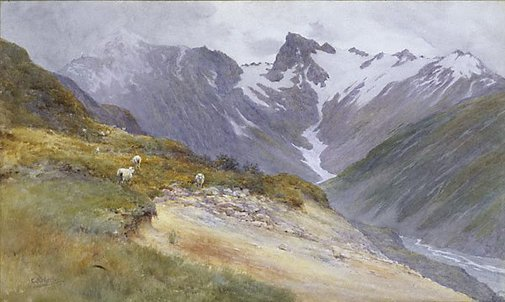 An image of Mountain pastures, Mt Cook by Charles Nathaniel Worsley