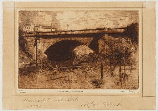 An image of Lennox Bridge, Parramatta by Sydney Ure Smith