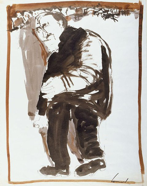 An image of Haymarket drawing (stooped man walking to the left) by Kevin Connor