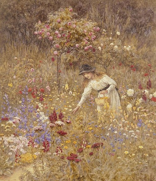 An image of Gathering flowers by Helen Allingham