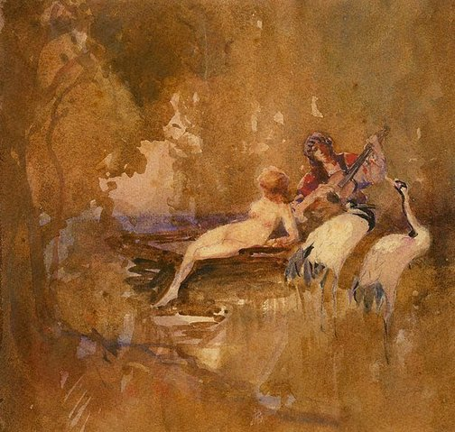 An image of (Reclining nude and musician) by Florence Turner Blake