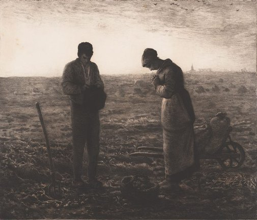 An image of The Angelus by Charles Waltner, after Jean-Francois Millet