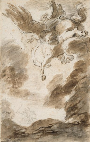 An image of Orlando Furioso: Atlante, mounted on the hippogryph, swoops down upon Bradamante by Jean-Honoré Fragonard