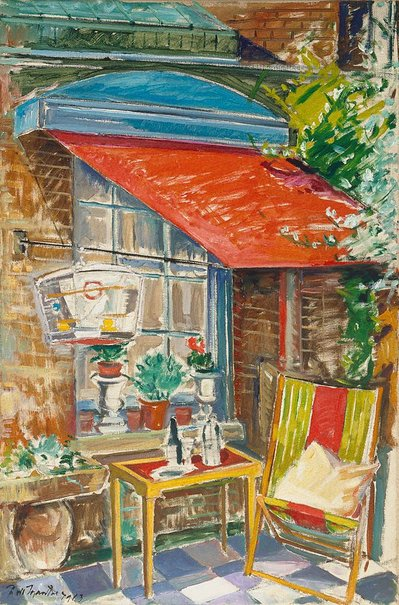 An image of Terrace with deck chair by Roy de Maistre