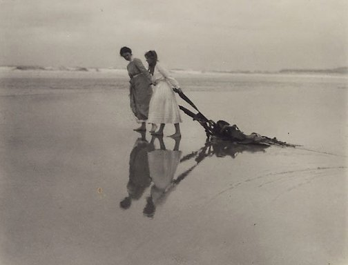 An image of On the beach near Dunedin (Joan Deck and Dora Malteby) by Norman C Deck