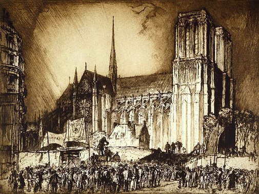 An image of Notre Dame, Paris by Sir Frank Brangwyn