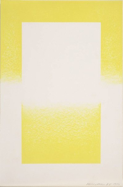An image of Untitled (Yellow and white abstract) by Richard Joseph Anuskiewicz