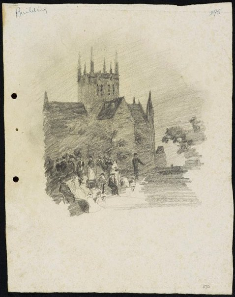 An image of recto: A gathering in Hyde Park verso: The Trust Building [top] and Arch of a bridge [bottom] by Lloyd Rees