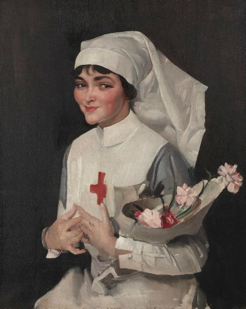 An image of The smiling sister (Miss Helen Lawson) by George W Lambert