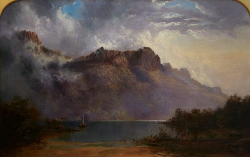 An image of Mount Olympus, Lake St Clair, Tasmania, the source of the Derwent by WC Piguenit