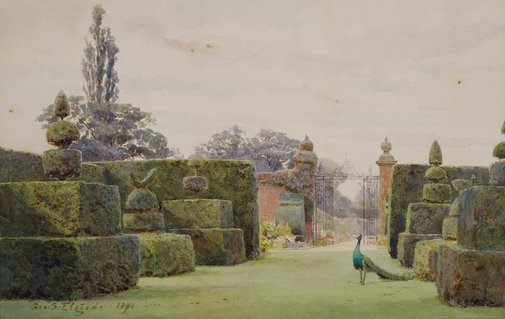An image of The yew garden, Arley by George Samuel Elgood