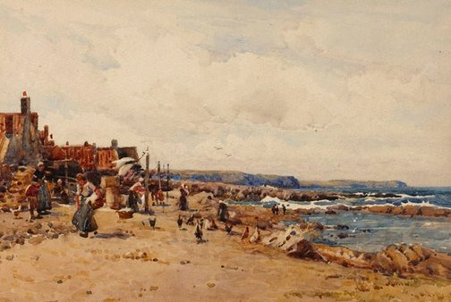 An image of Looking south, Troup Head, Banffshire by Robert Weir Allan