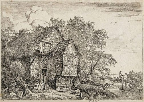 An image of The little bridge by Jacob van Ruisdael