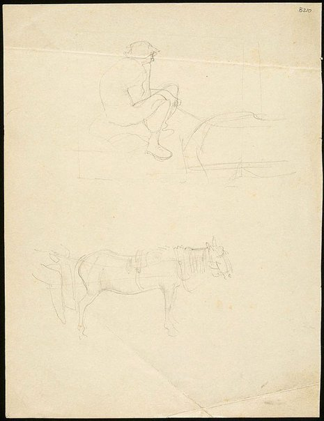 An image of (Studies of horse in harness and driver) (London genre) by William Dobell