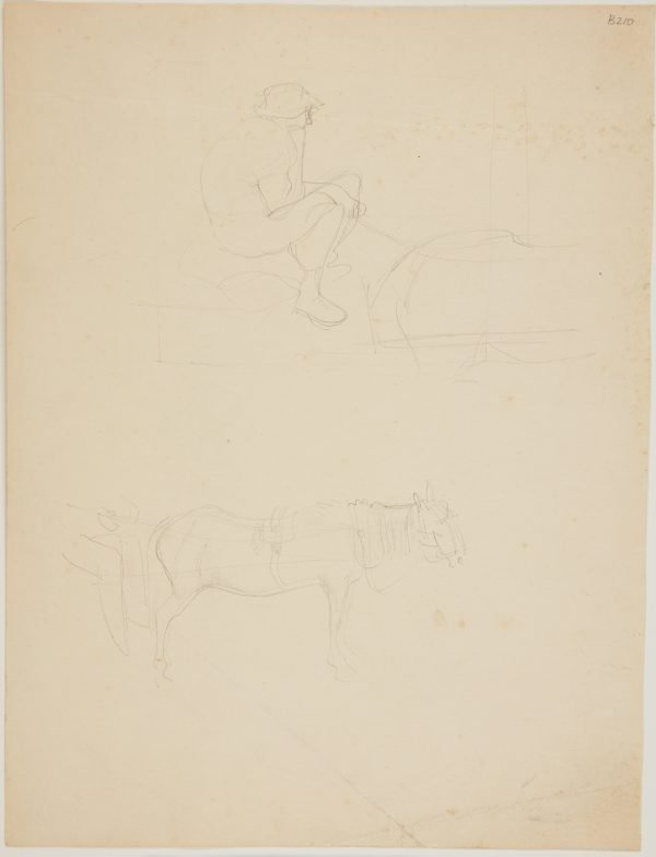 An image of (Studies of horse in harness and driver) (London genre)