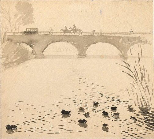 An image of (Bridge with ducks) (London genre) by William Dobell