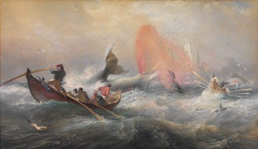 An image of Whalers off Twofold Bay, New South Wales by Oswald Brierly