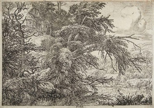 An image of A thatched cottage on a hill by Jacob Isaacksz van Ruisdael