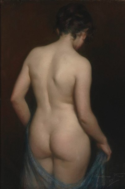An image of The model disrobing by Janet Cumbrae Stewart