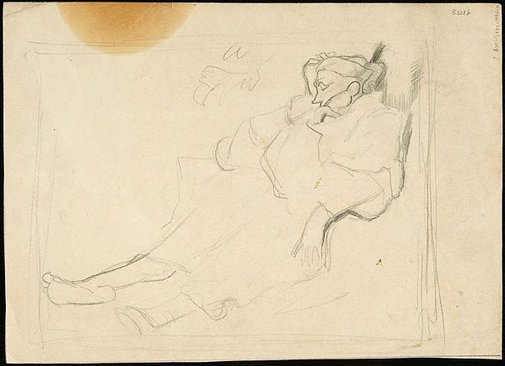 An image of (Destitute woman sleeping) (London genre) by William Dobell