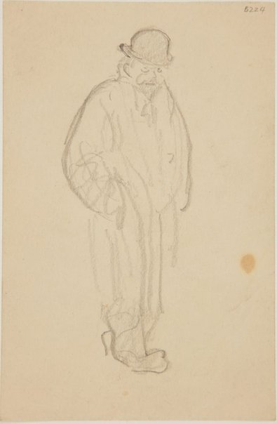An image of (Man in coat and bowler hat) (London genre) by William Dobell