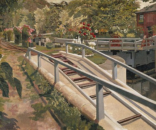 An image of Cookham Lock by Sir Stanley Spencer