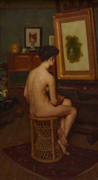 An image of The model (nude) by Bernard Hall