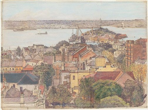 An image of The harbour from Potts Point by Sydney Ure Smith
