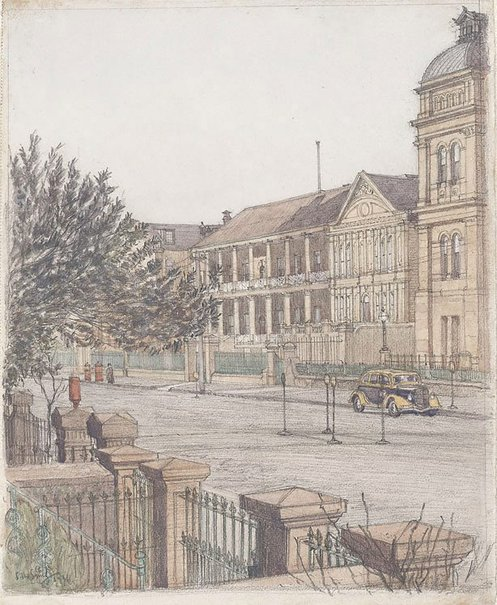 An image of Macquarie St (Parliament House) by Sydney Ure Smith