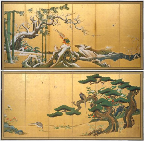 An image of Pine, bamboo and plum blossom by Kanô Einô