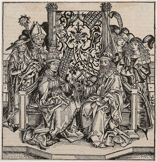 An image of Pope Pius II and the Emperor Frederick III seated on one throne by Michael Wolgemut, Wilhelm Pleydenwurff