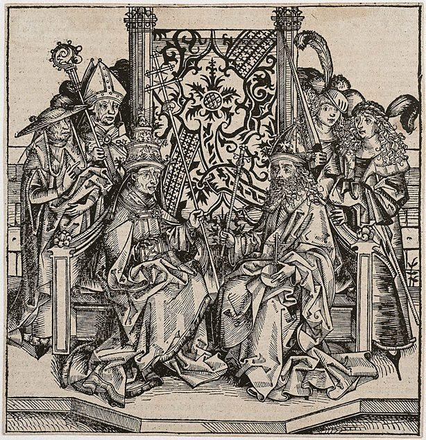An image of Pope Pius II and the Emperor Frederick III seated on one throne
