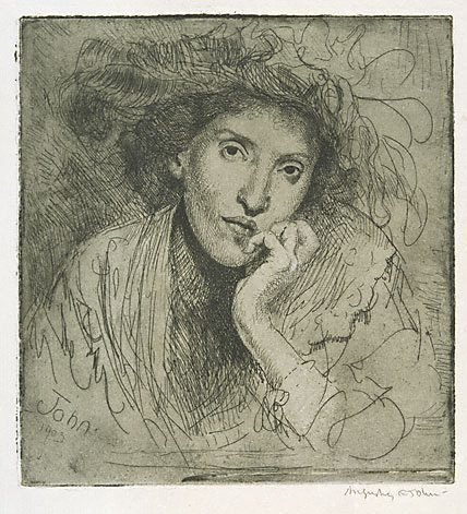 An image of A Jewess resting her head on her hand by Augustus John OM