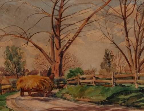 An image of A country lane near Cobbitty by Ronald Hewison Steuart