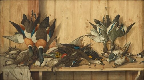 An image of Dead game birds by Neville Cayley