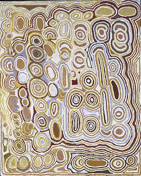 An image of Women travelling to Pinari and Watanuma rockholes by Wintjiya Napaltjarri, Tjunkiya Napaltjarri