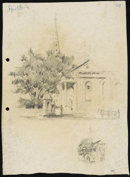 An image of recto: St James' Church verso: Small study of the Comrie fountain by Lloyd Rees