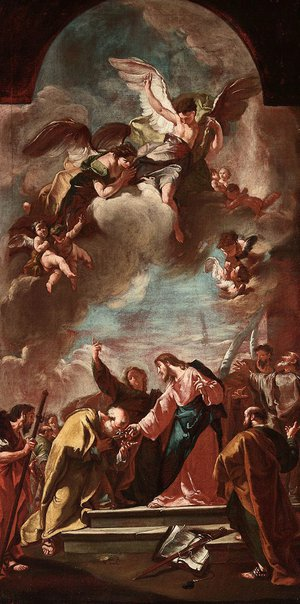 An image of Christ handing the keys to St. Peter by Unknown, Giambattista Pittoni
