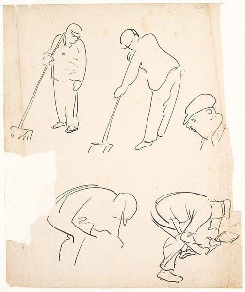 An image of (Figure studies, men sweeping) (London genre) by William Dobell
