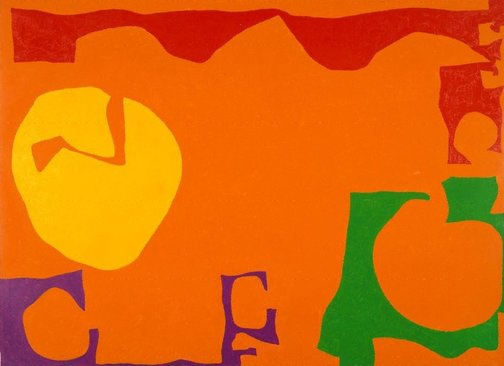An image of Big Rumbold Orange : December 1970 by Patrick Heron