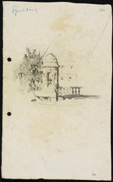 An image of recto: The Comrie Fountain in front of St James' Church verso: The tree beside St James' Church by Lloyd Rees