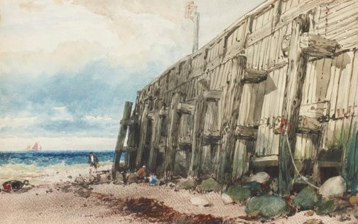 An image of Old Calais pier by William Beverley