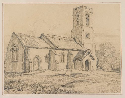 An image of Burgh Church, Norfolk by John Sell Cotman