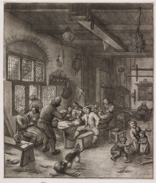 An image of A tavern scene by Unknown, after Adriaen van Ostade