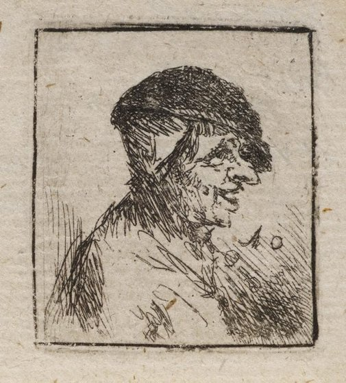 An image of Bust of a laughing peasant by Unknown, after Adriaen van Ostade
