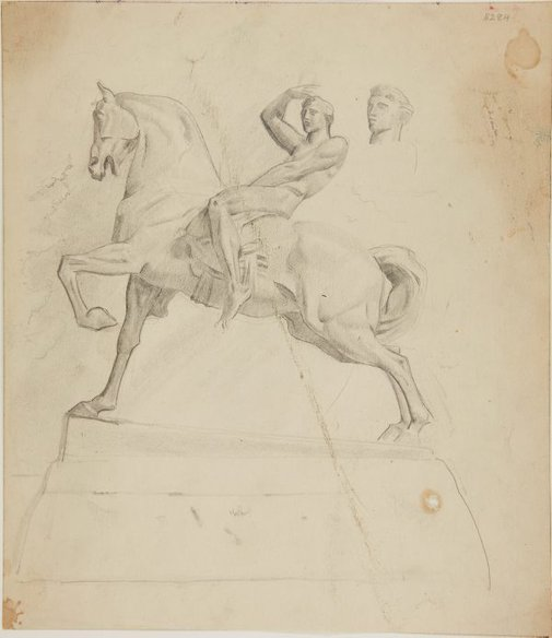 An image of (Equestrian statue) (London genre) by William Dobell