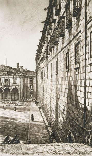 An image of The Convent of San Payo, Santiago de Compostela by Sir Muirhead Bone