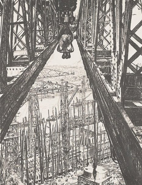 An image of A shipyard seen from a big crane by Sir Muirhead Bone