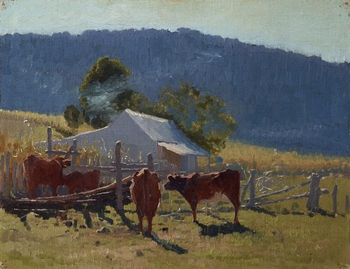 An image of Milking time (Araluen Valley) by Elioth Gruner