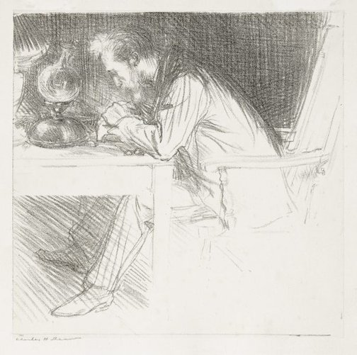 An image of The wood engraver (Charles Ricketts) by Charles Shannon